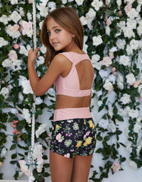 Child Audrey Short in Black Floral with Pink Dot Waistband - back view