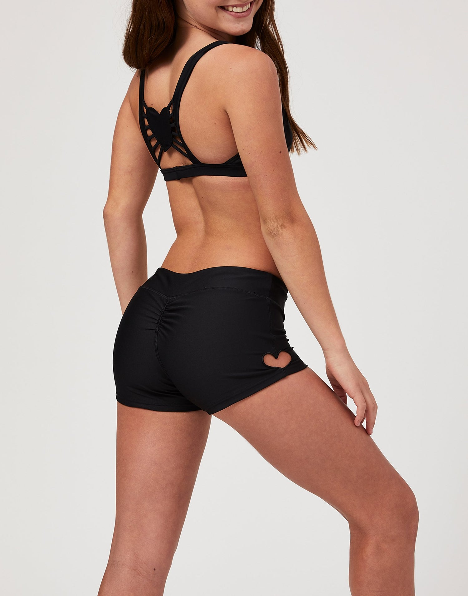 Adult Hartley Short with Heart Cutout in Black - side view