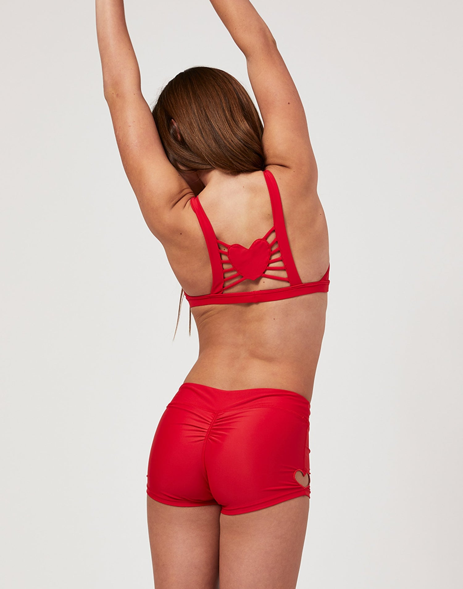 Adult Hartley Short with Heart Cutout in Red - back view