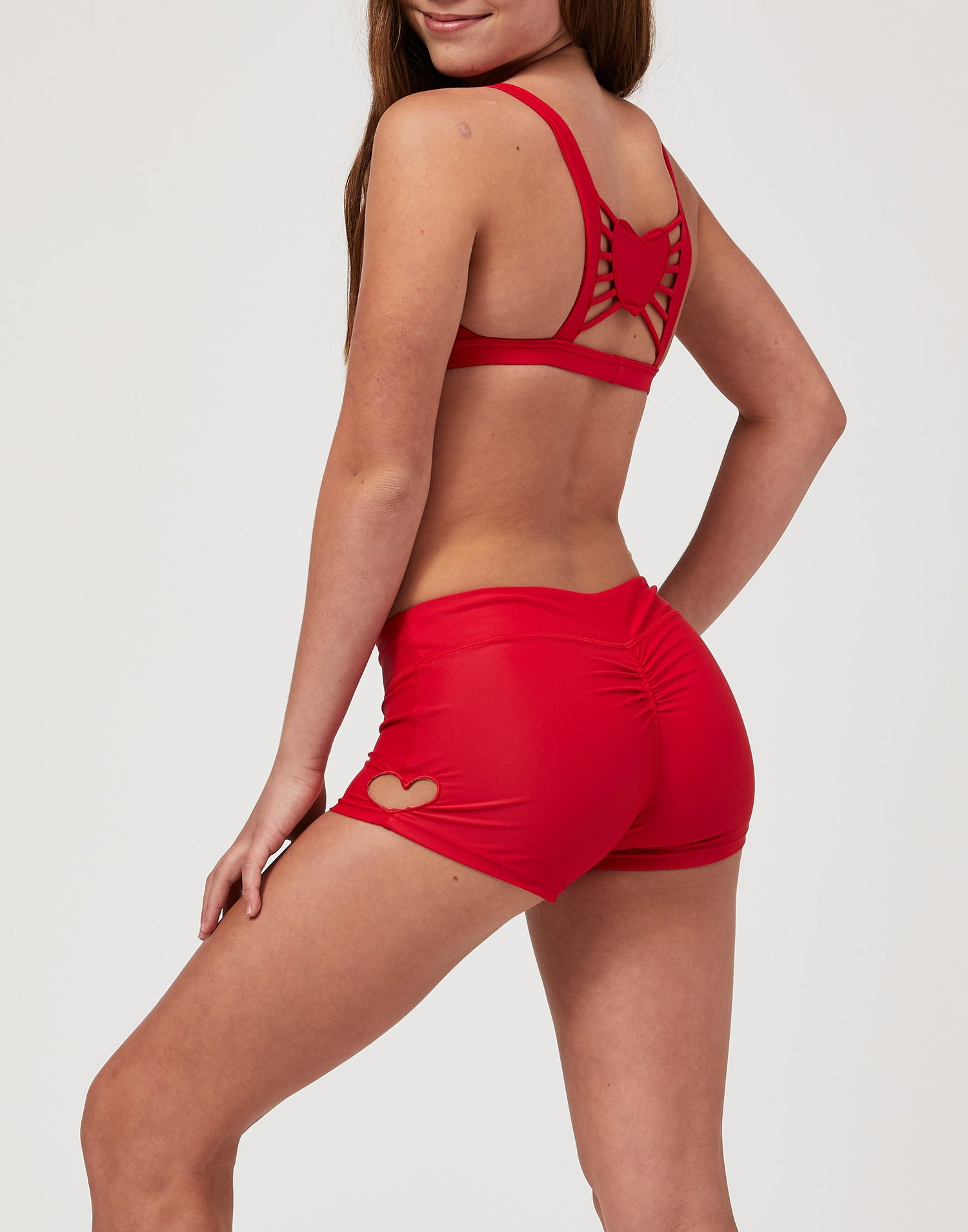 Adult Hartley Short with Heart Cutout in Red - alternate back view