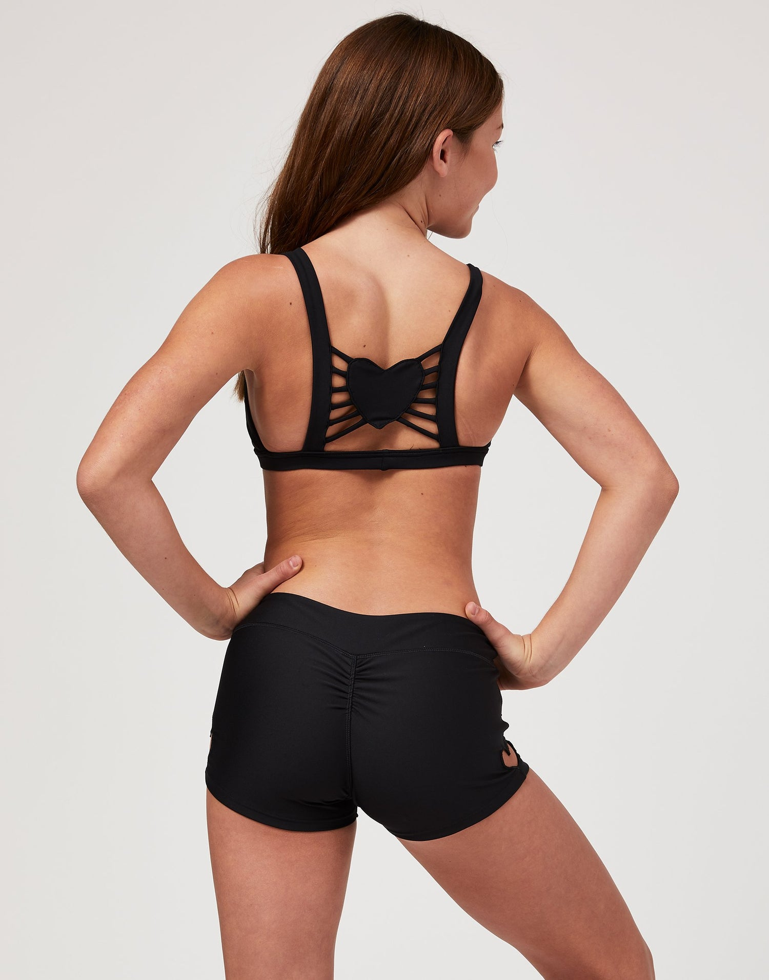 Adult Hartley Short with Heart Cutout in Black - back view