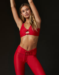 Adult Payton Legging with Lace Up Detail in Red - alternate front detail view