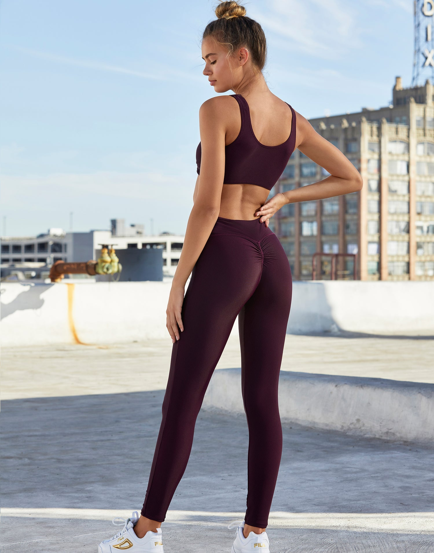 Adult London Legging in Eggplant Rib - backl view