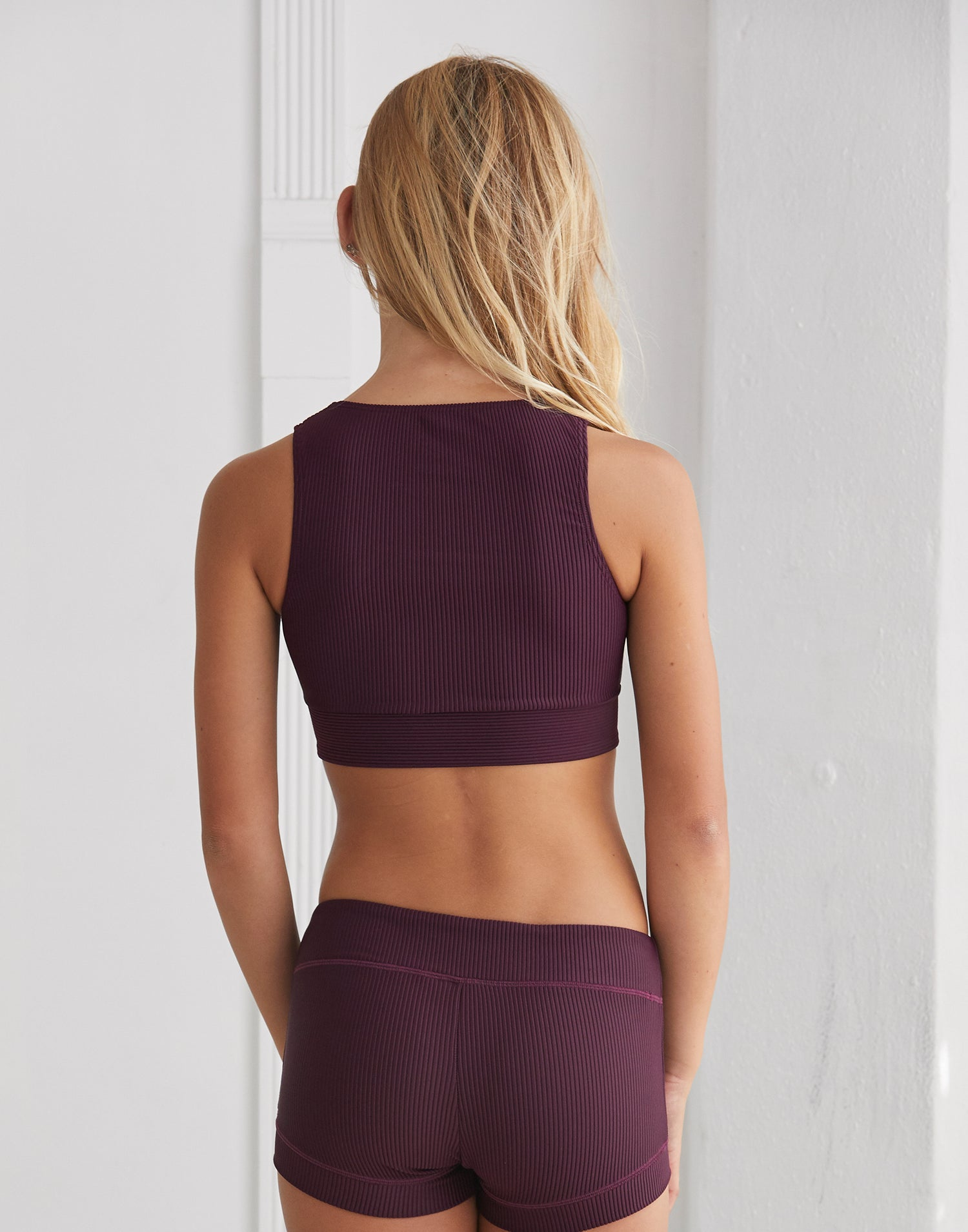 Child Audrey Wrap Top in Eggplant Rib - back view
