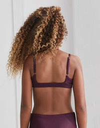 Child London Bralette with Open Back in Eggplant Rib - back view