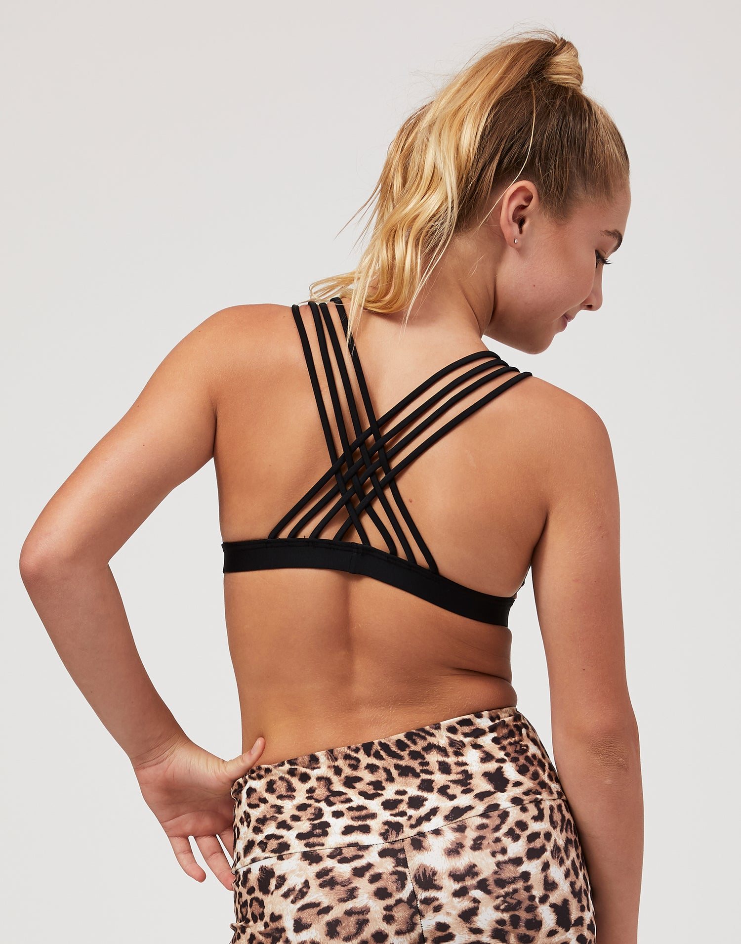 Child Harper Bralette with Strappy Detail  in Leopard - back view