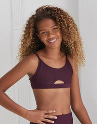 Child London Bralette with Peek-a-Boo Cutout in Eggplant Rib - front view