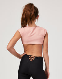 Child Brinley Reversible Crop Top in Pink Dot - back view
