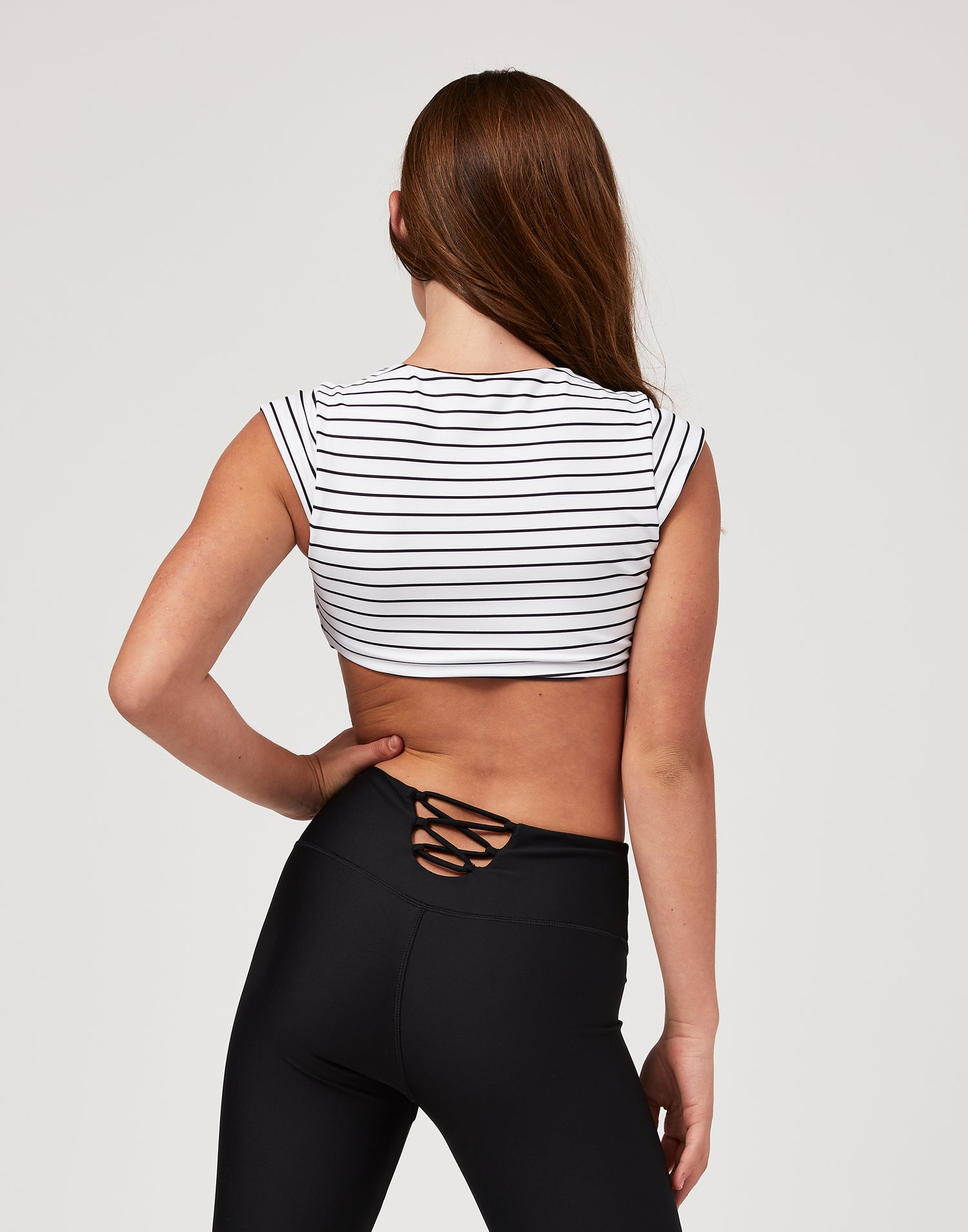 Child Brinley Reversible Crop Top in White Stripe - back view