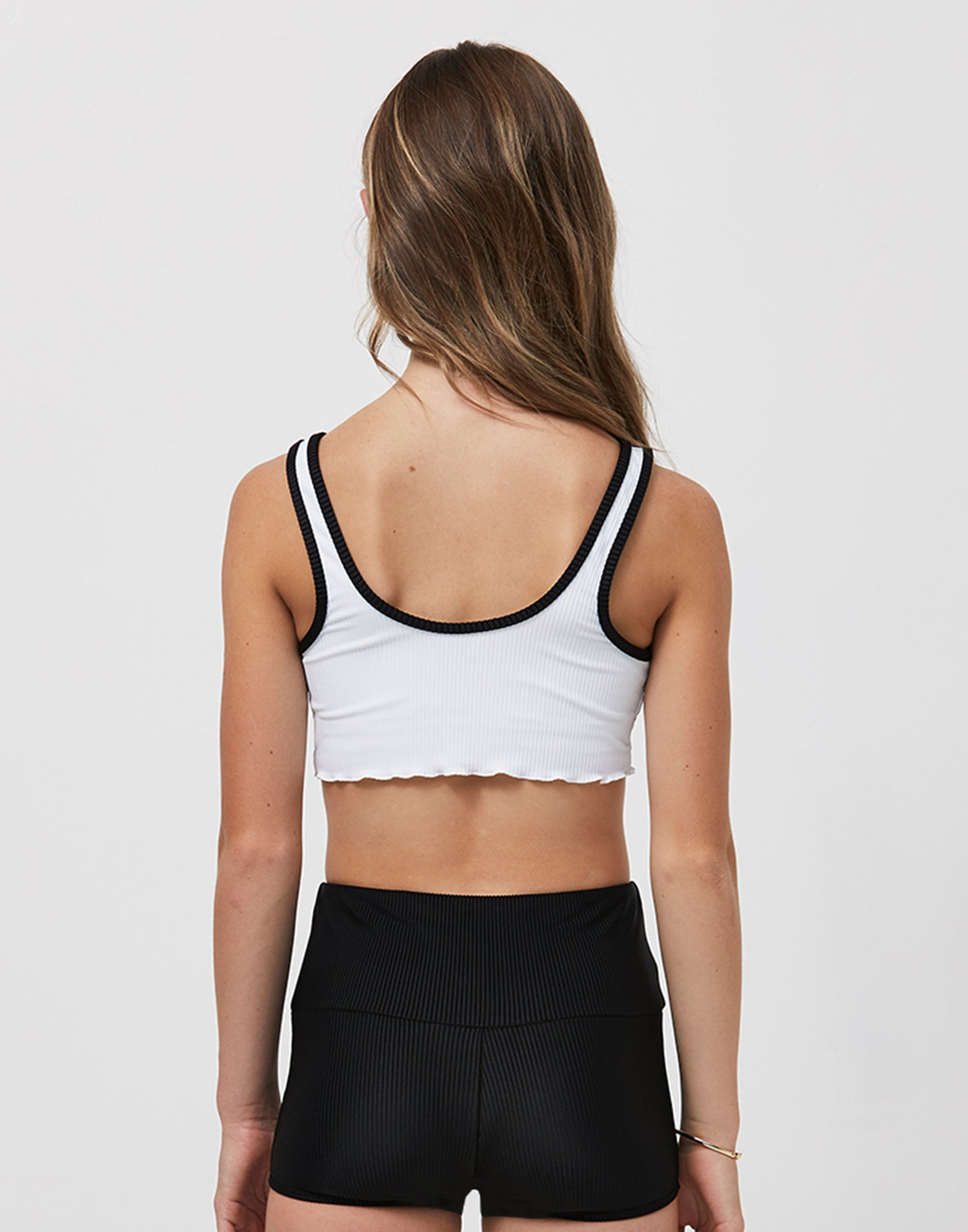 Child Mason Crop Top in White Black - back view