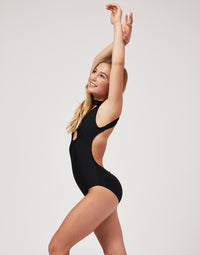 Child Thea Leotard with Open Back in Black - side view