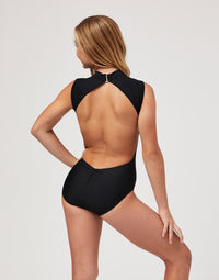 Child Thea Leotard with Open Back in Black - back view