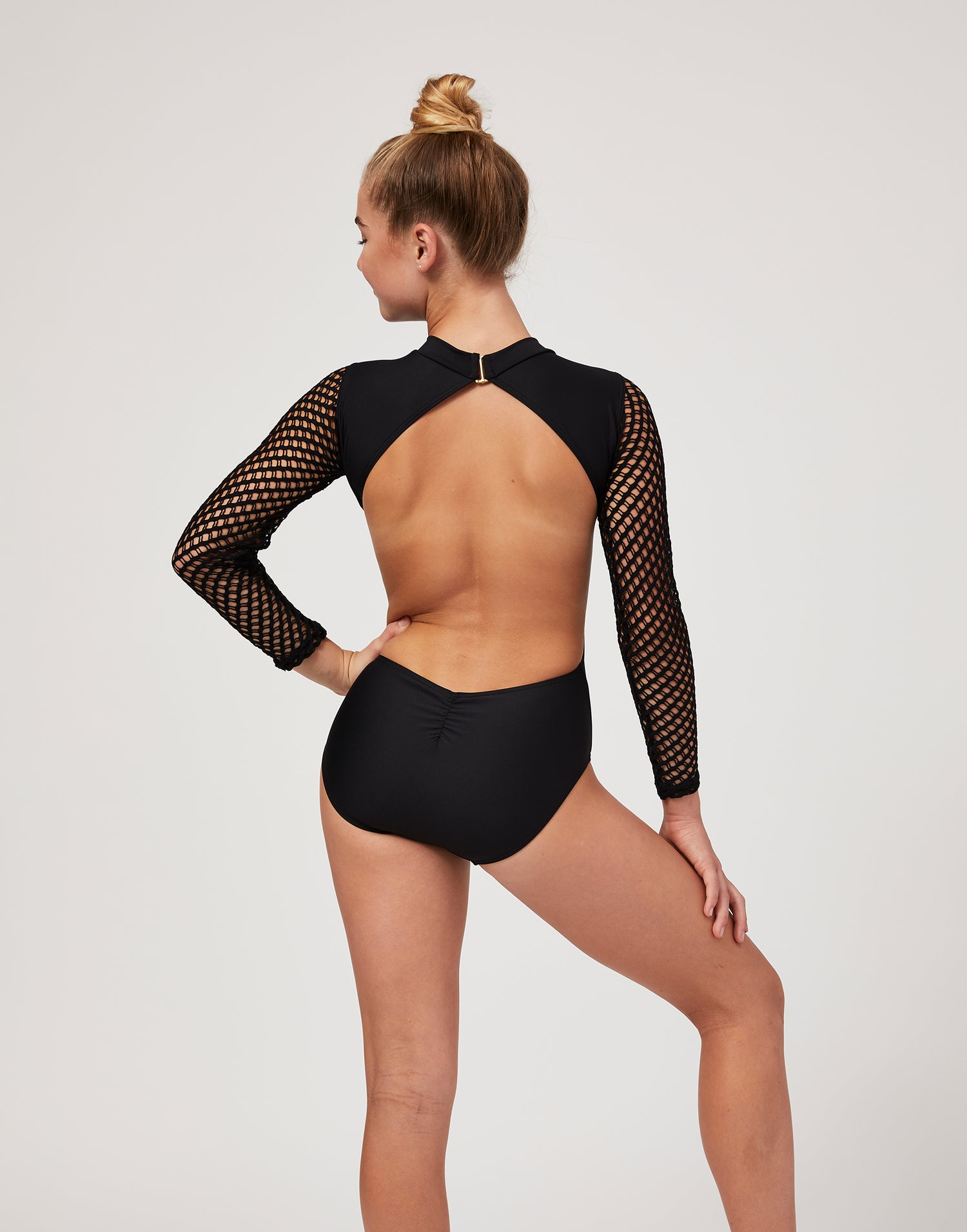 Child Teagan Leotard with Open Back in Black - back view