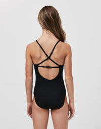 Child Ivy Leotard with Criss Cross Straps in Black Rib - back view