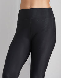 Child London Legging in Black Rib - front detail view