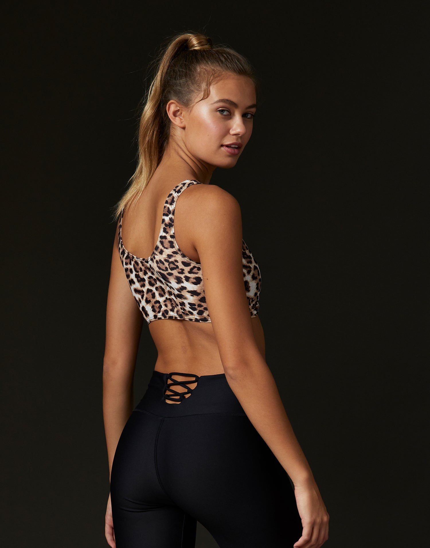 Adult Presley Bralette in Leopard - back view