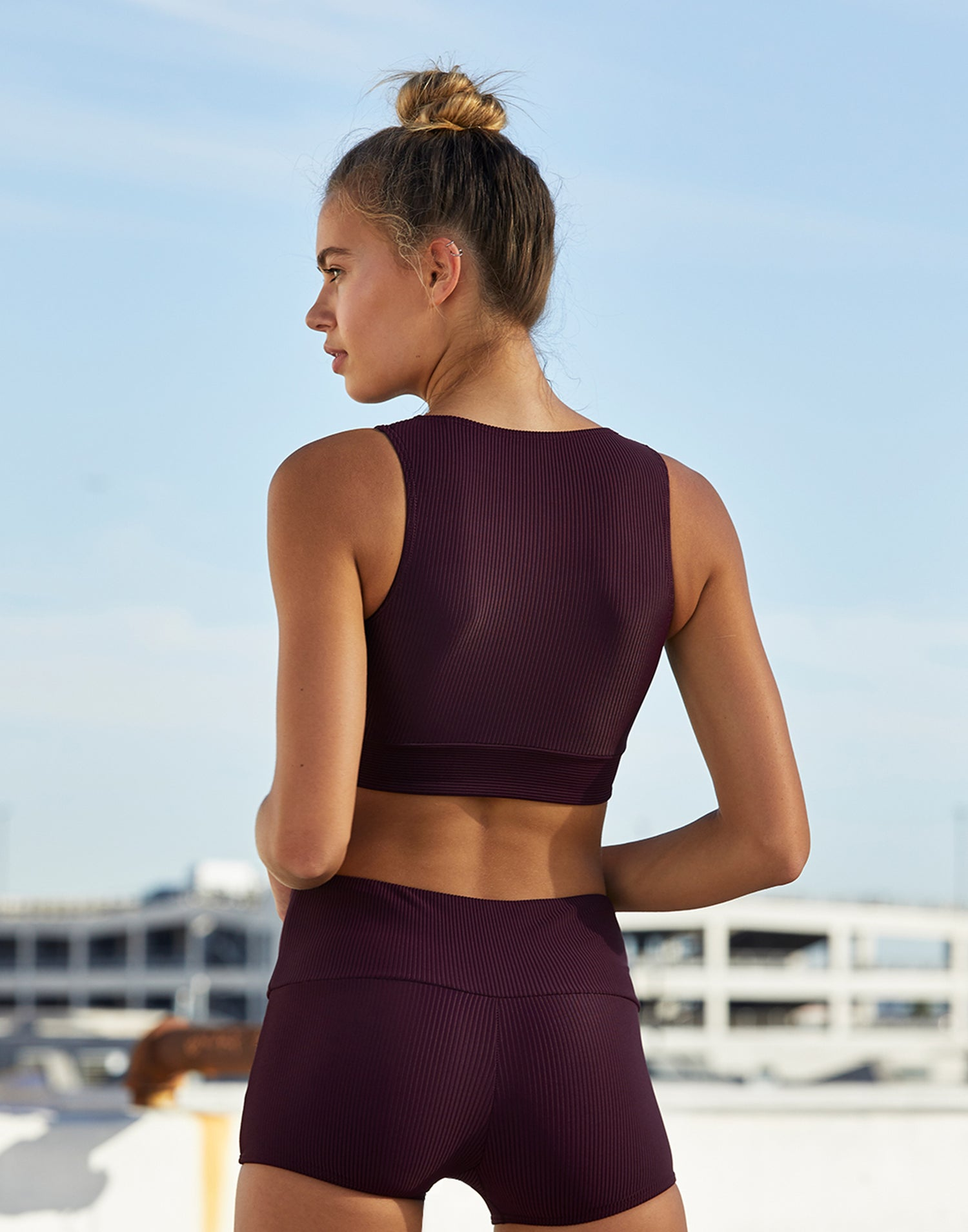 Adult Audrey Wrap Top in Eggplant Rib - back view
