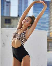Adult Avery Leotard with Cutout Detail in Leopard - front view