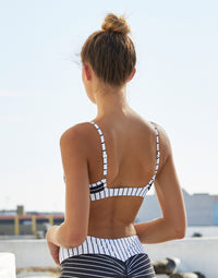 Adult London Bralette with Open Back in Black and White Stripe - back view