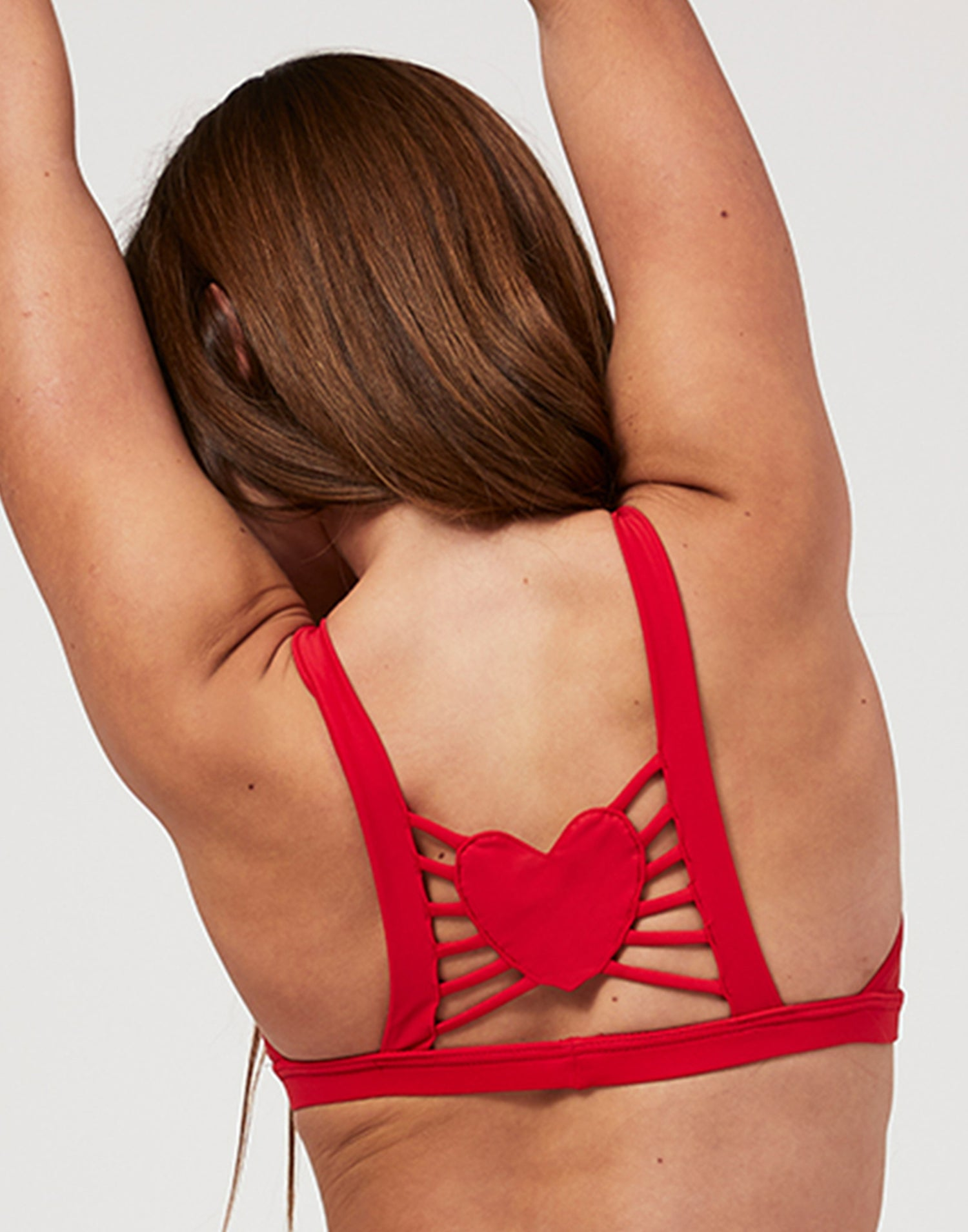 Adult Hartley Bralette with Strappy Detail and Heart Cutout in Red - back view