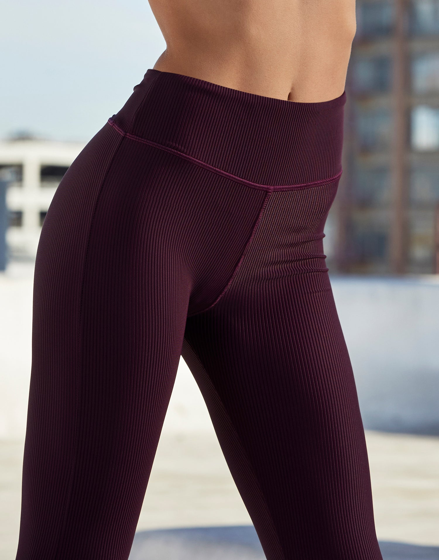 Adult London Legging in Eggplant Rib - alternate front detail view
