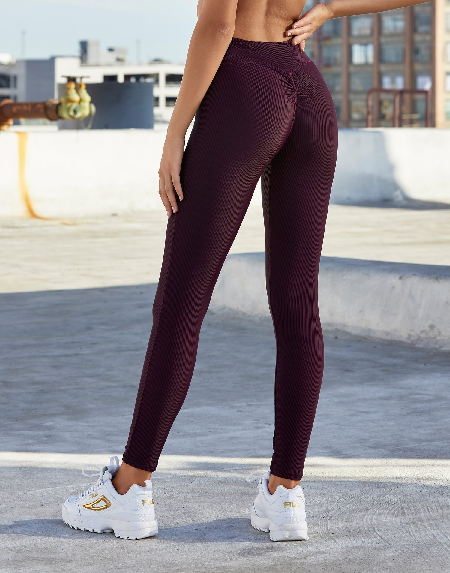 Adult London Legging in Eggplant Rib - back detail view