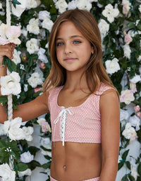 Child Hayden Top with Lace Up Detail in Pink Dot - alternate front view