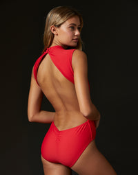 Adult Taylor Leotard with Open Back in Red - back view