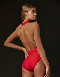 Adult Morgan Leotard with Nude Mesh Details in Red - back view