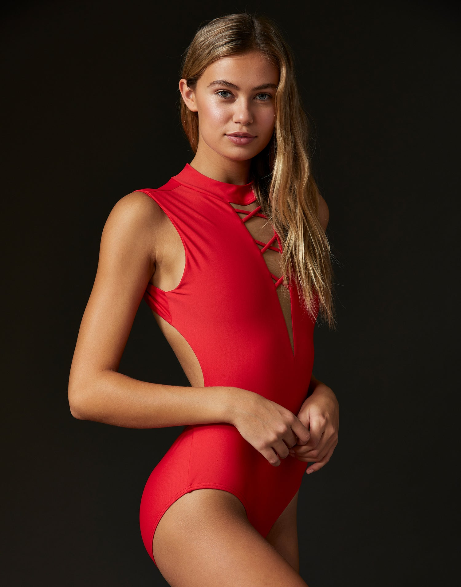 Adult Taylor Leotard with Lace Up Detail in Red - side view
