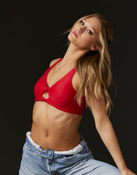 Adult Presley Bralette with Double Knot Detail in Red - styled front view