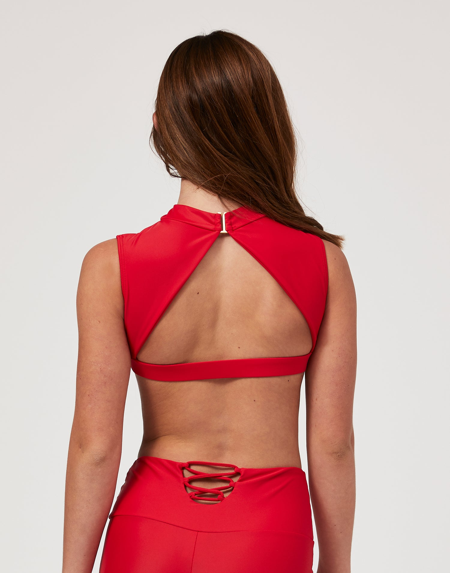 Child Taylor Crop with Open Back in Red - back view