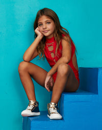 Child Taylor Leotard with Lace Up Detail in Red - alternate front view