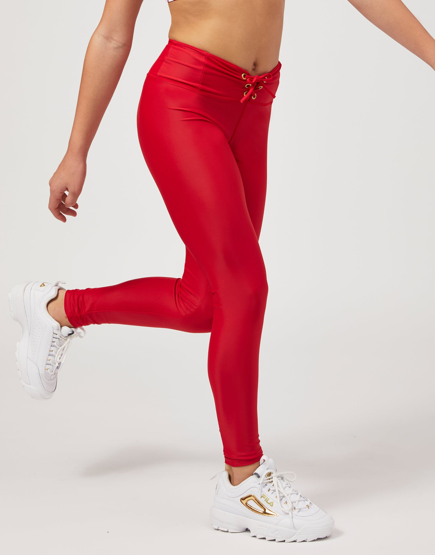 Child Payton Legging with Lace Up Detail in Red - front detail view