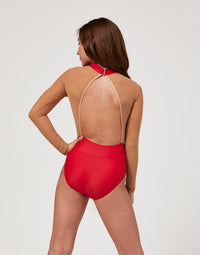 Child Morgan Leotard with Nude Mesh Detail in Red - back view