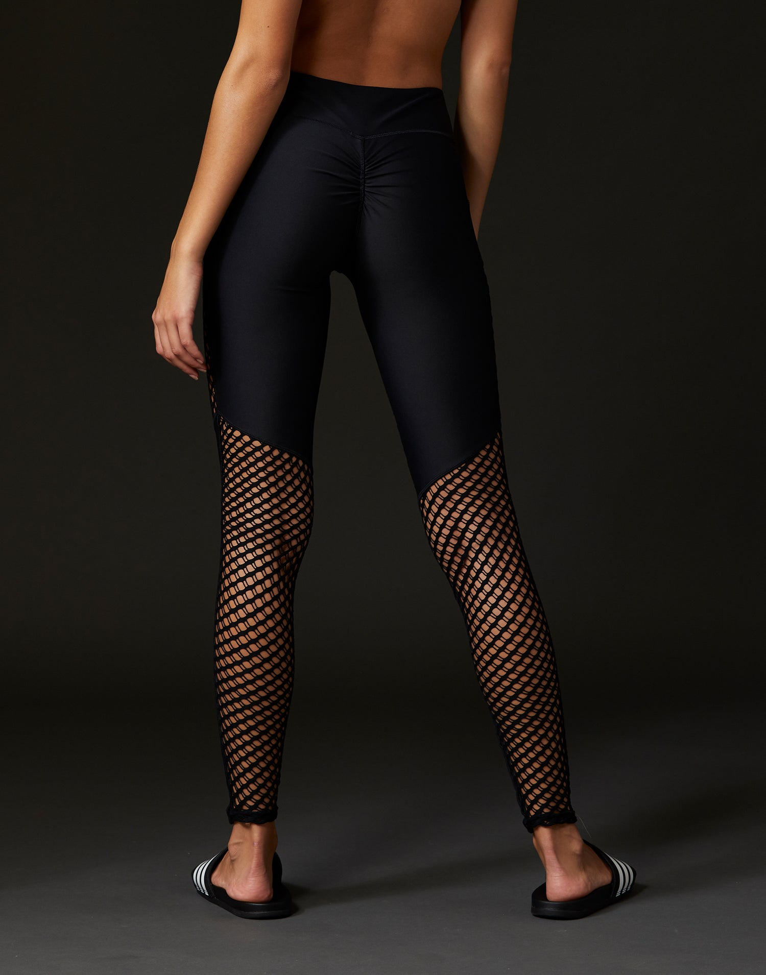 Adult Ryder Legging with Sheer Wide Net Inserts in Black - back view