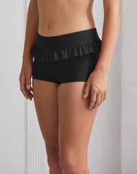 Adult Ireland Short with Ruffle Waistband in Black - front view