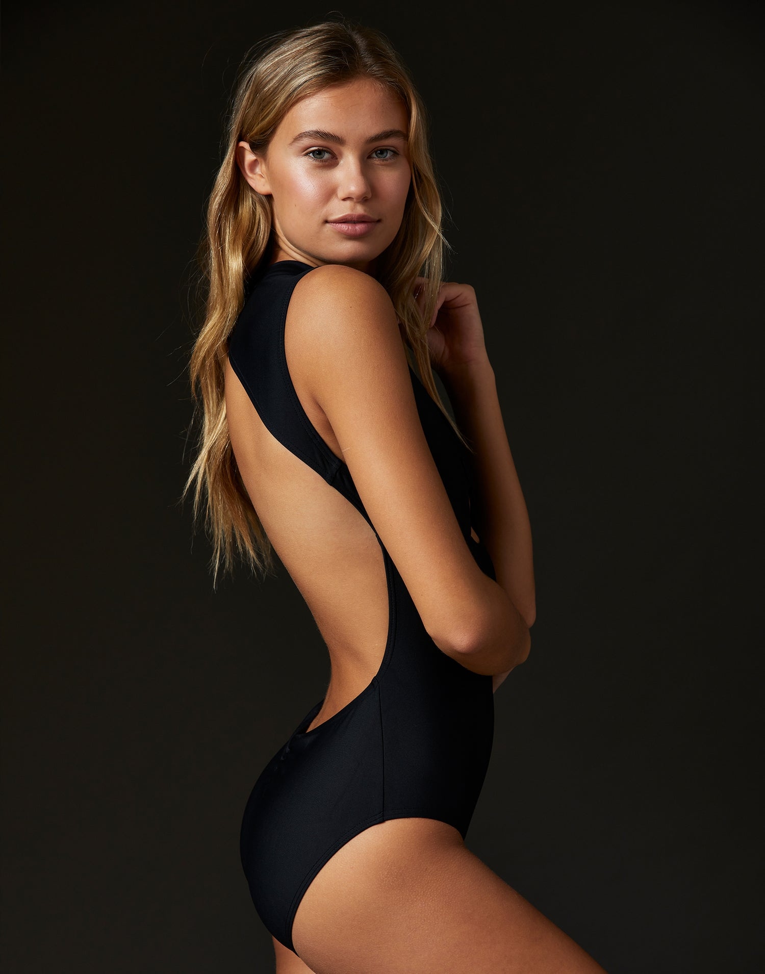 Adult Thea Leotard with Open Back in Black - side view