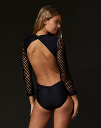 Adult Teagan Leotard with Open Back in Black - back view
