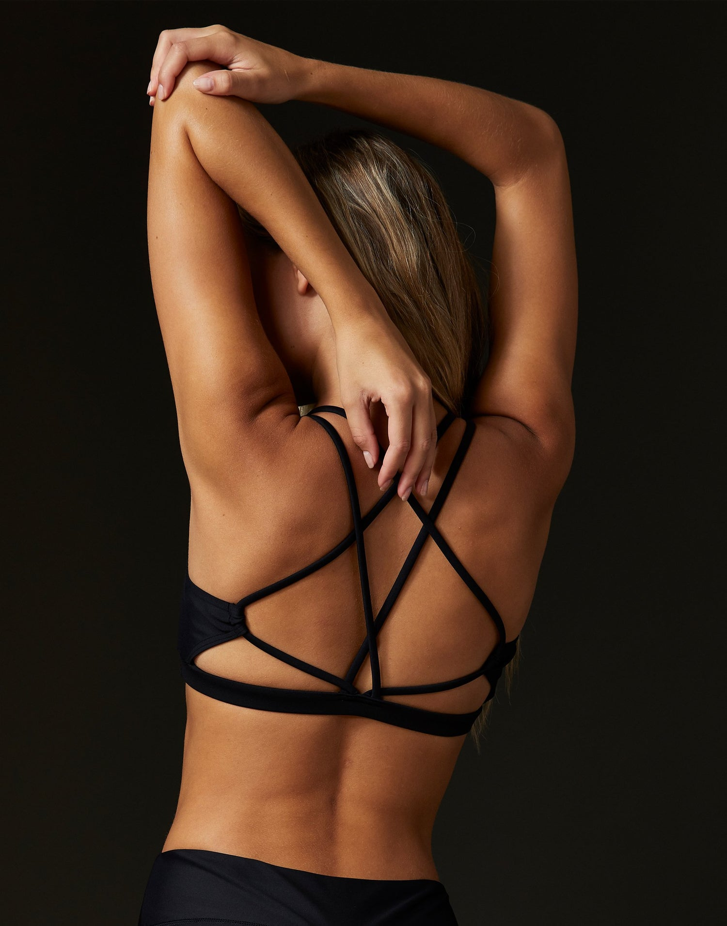Adult Ryder Bralette with Nude Mesh Detail in Black - back view