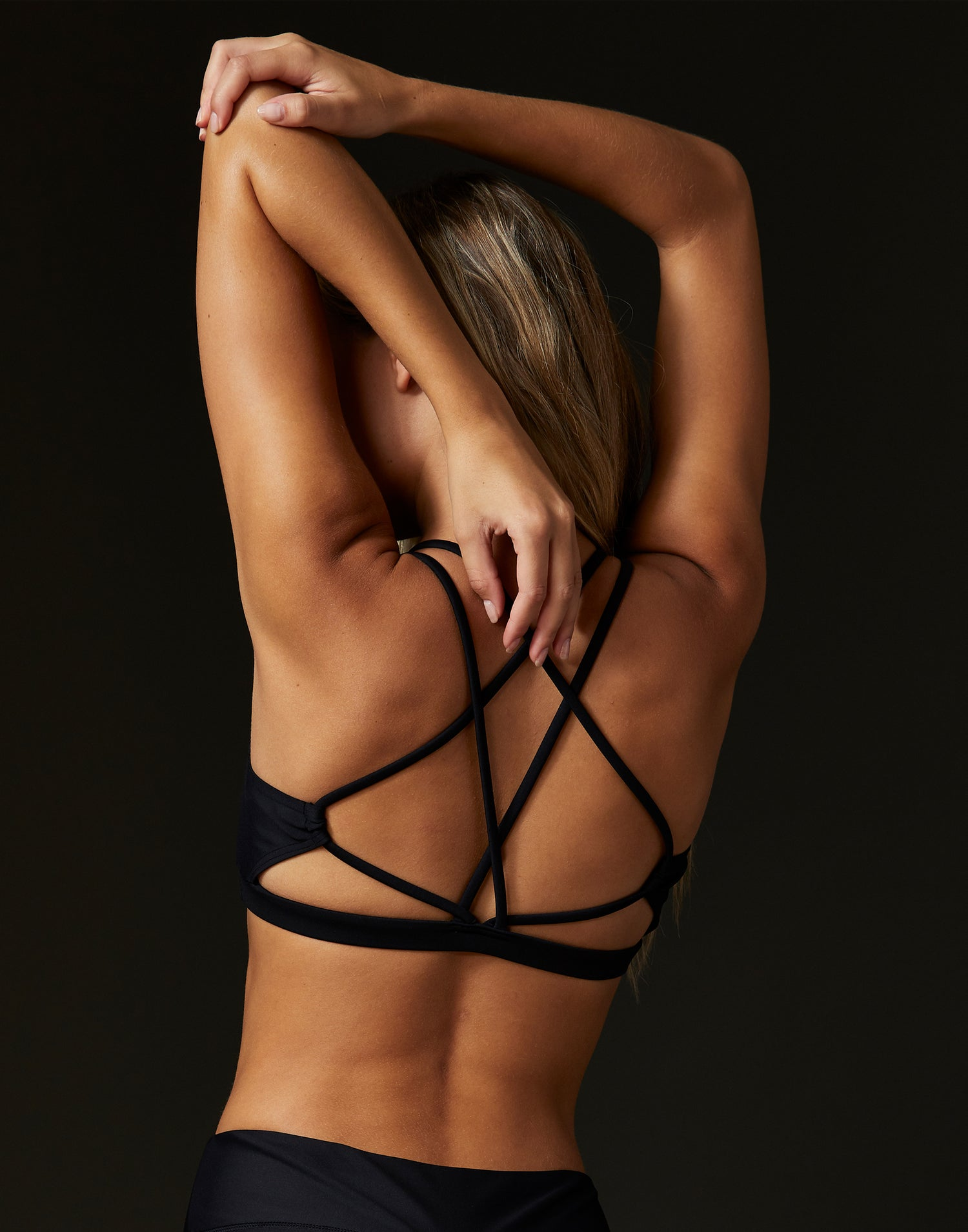Adult Ryder Bralette with Criss Cross Straps in Black - back view