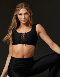Adult Hayden Top with Lace Up Detail in Black - alternate front view