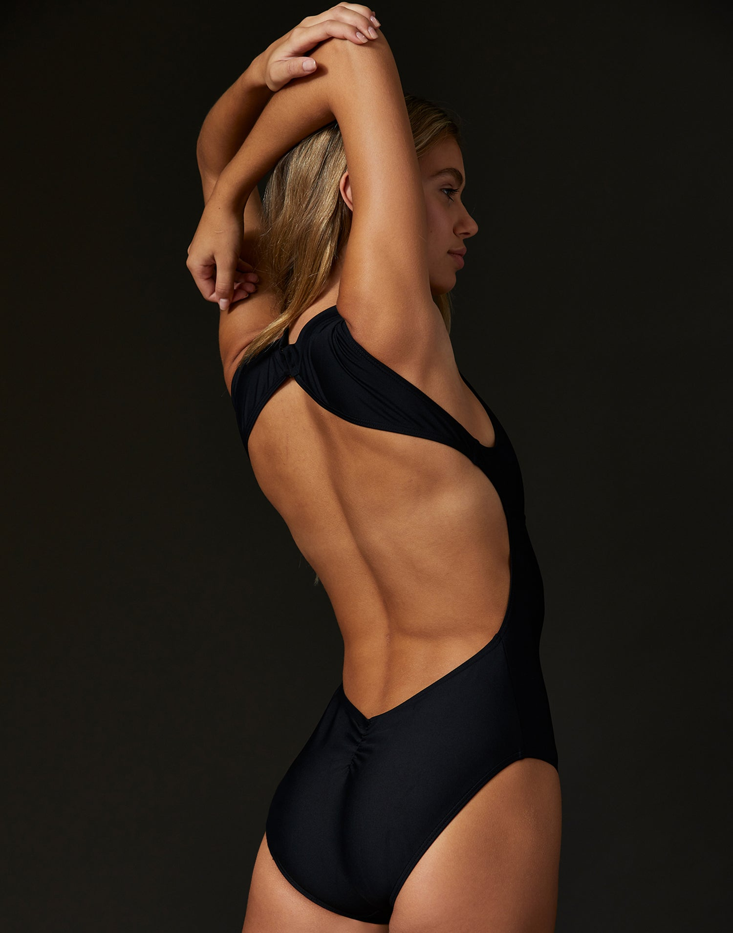 Adult Thea Leotard with Open Back in Black - back view