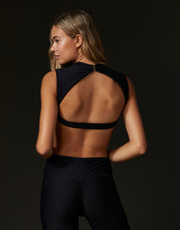 Adult Taylor Crop Top with Open Back in Black - back view