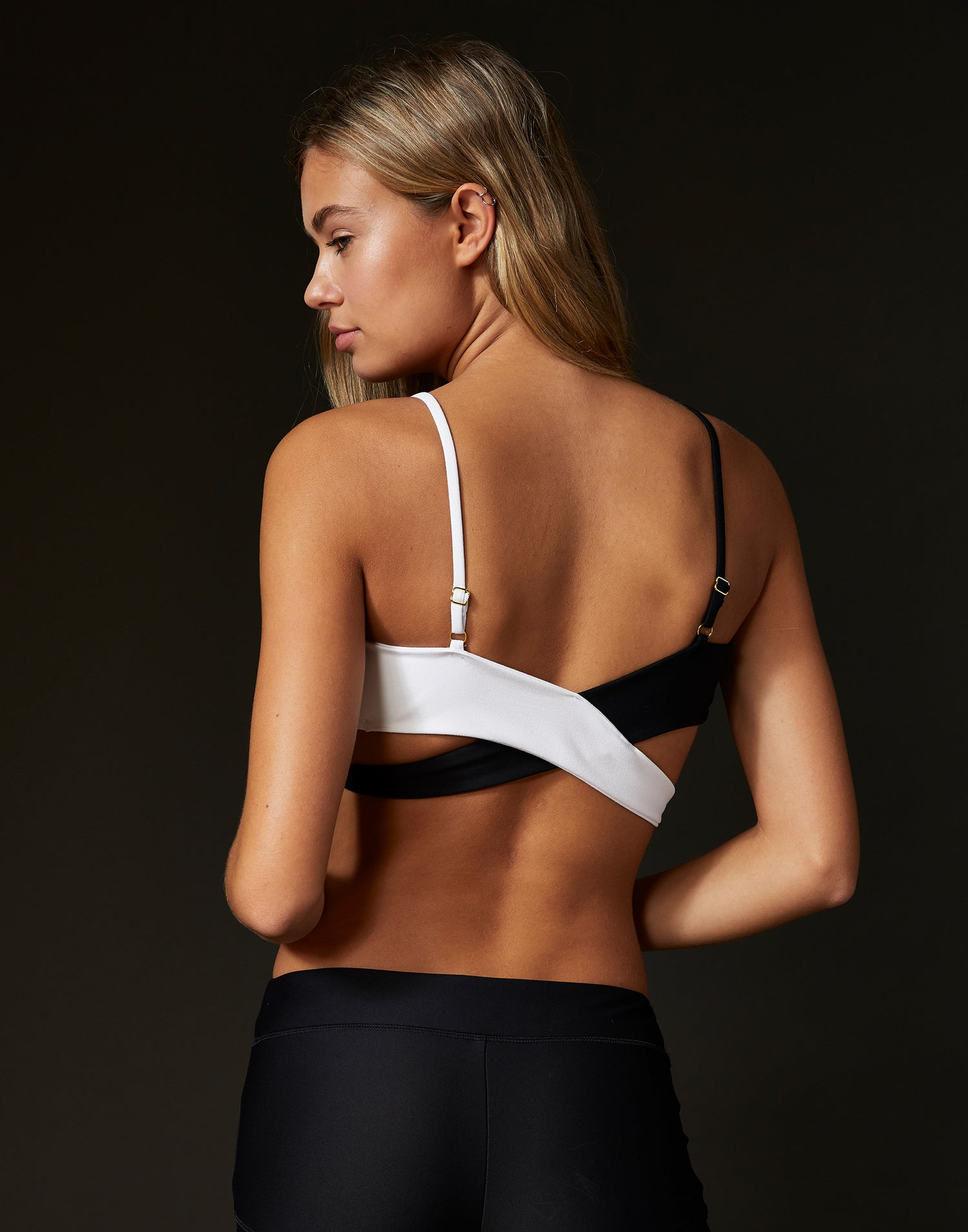 Adult Skylar Wrap Top in Black White - back view