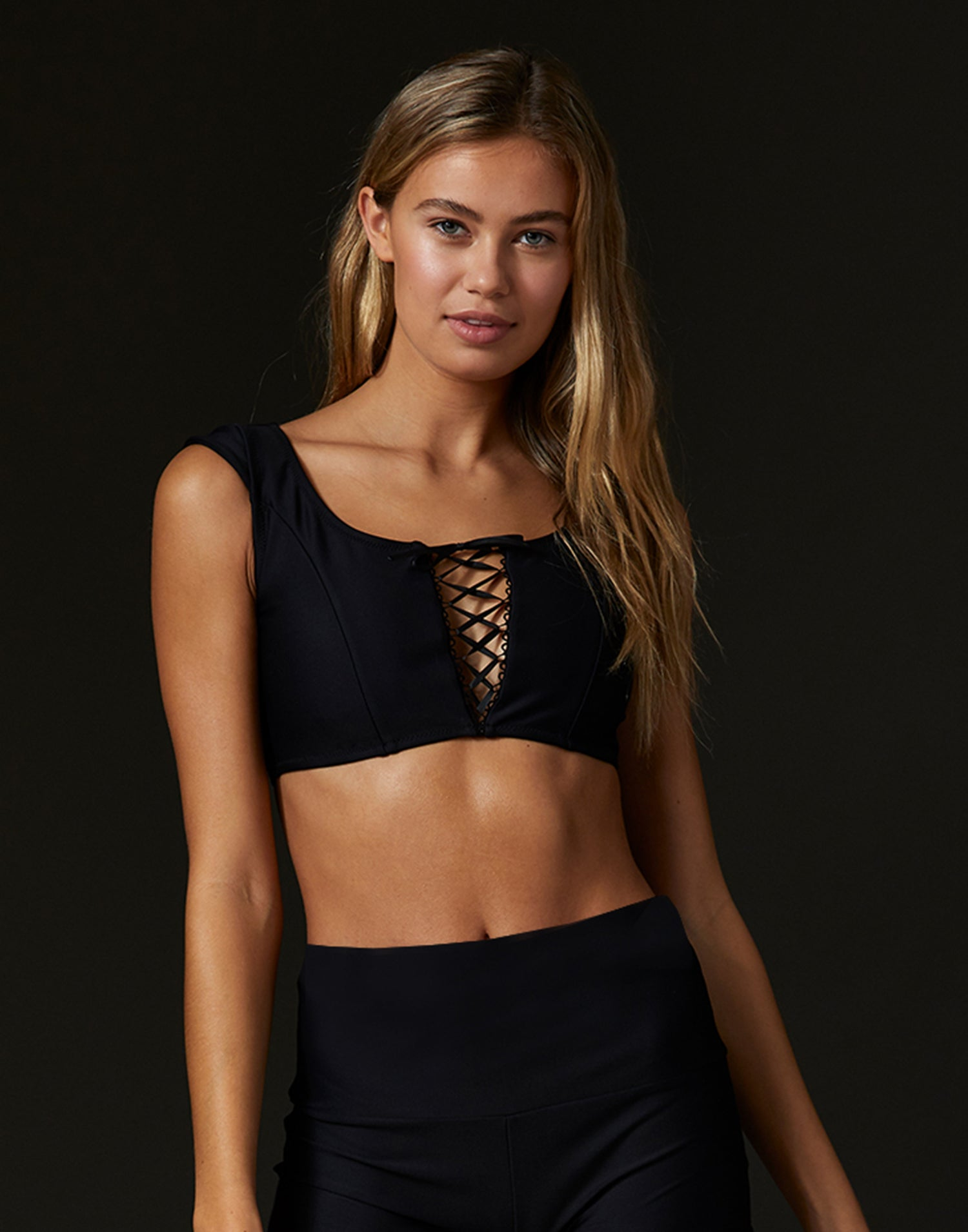 Adult Hayden Top with Lace Up Detail in Black - front view