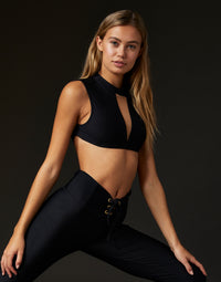 Adult Taylor Crop Top with Nude Mesh Cutout Detail in Black - front view