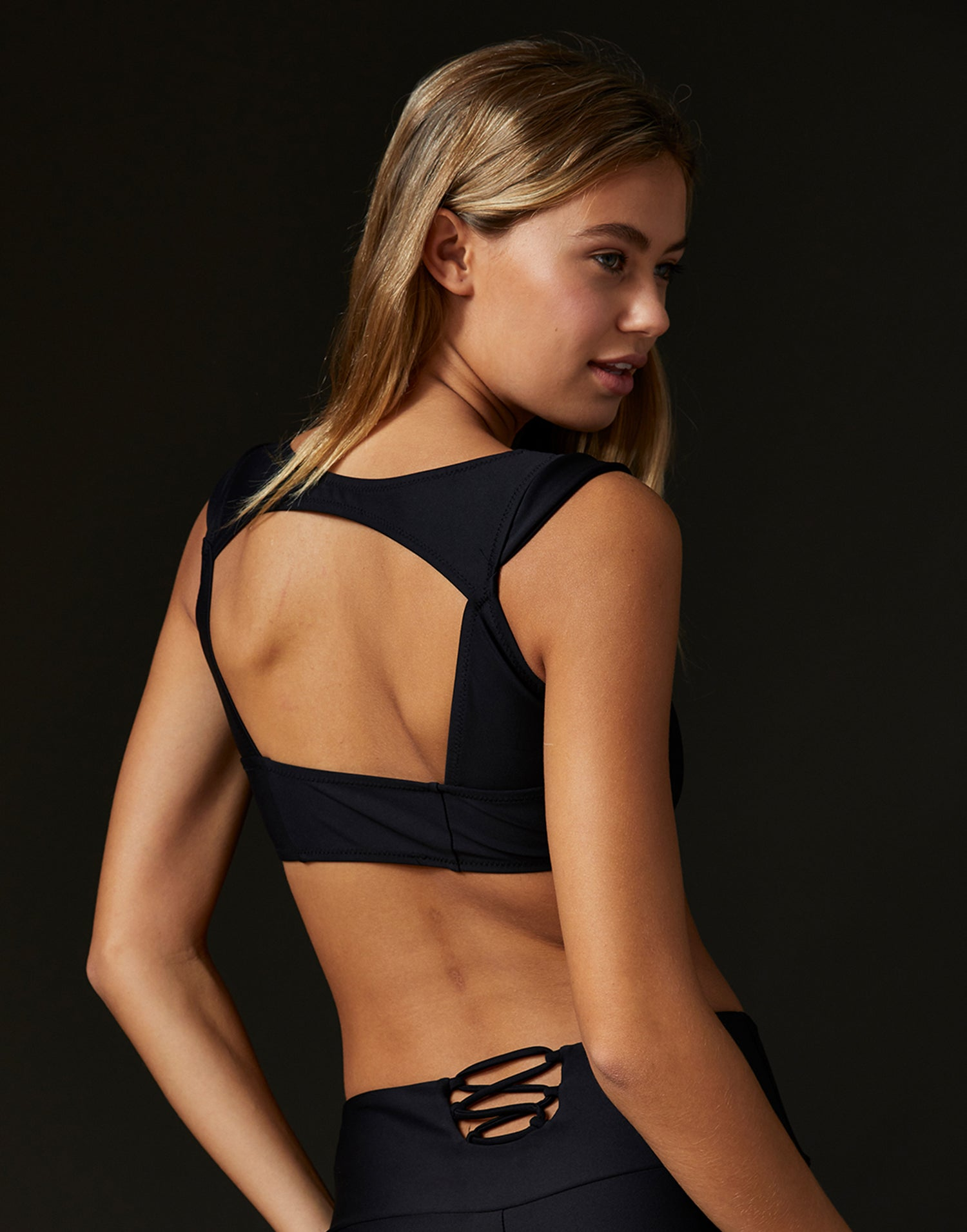 Adult Hayden Top with Keyhole Detail in Black - back detail view