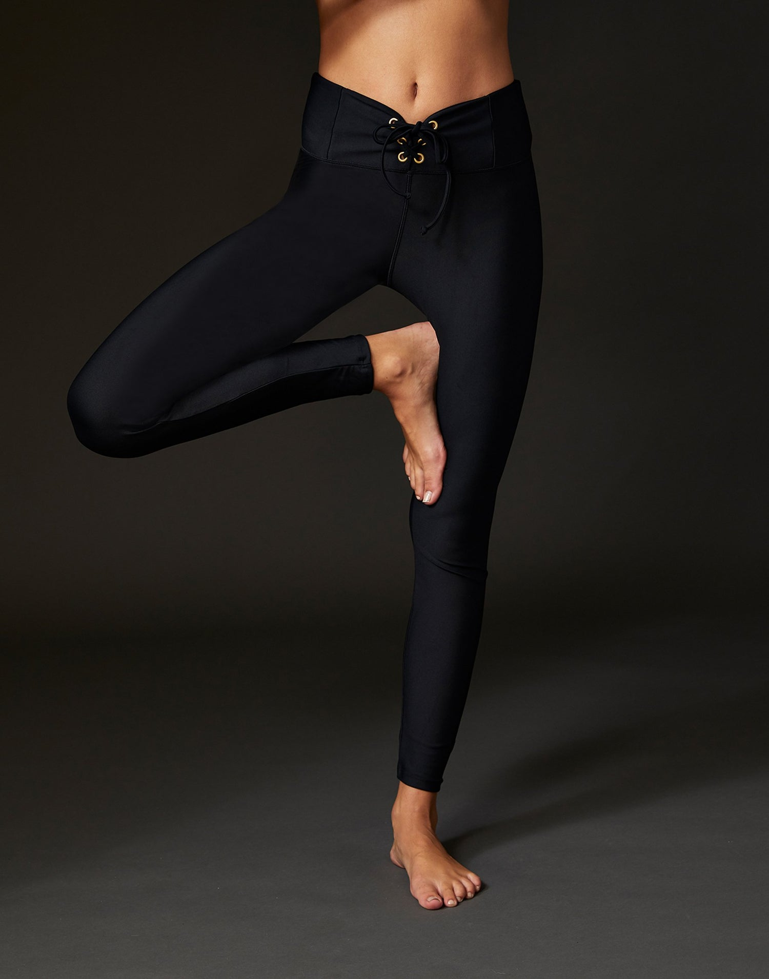 Adult Payton Legging with Lace Up Detail in Black - alternate front detail view