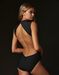 Adult Taylor Leotard with Open Back in Black - back view